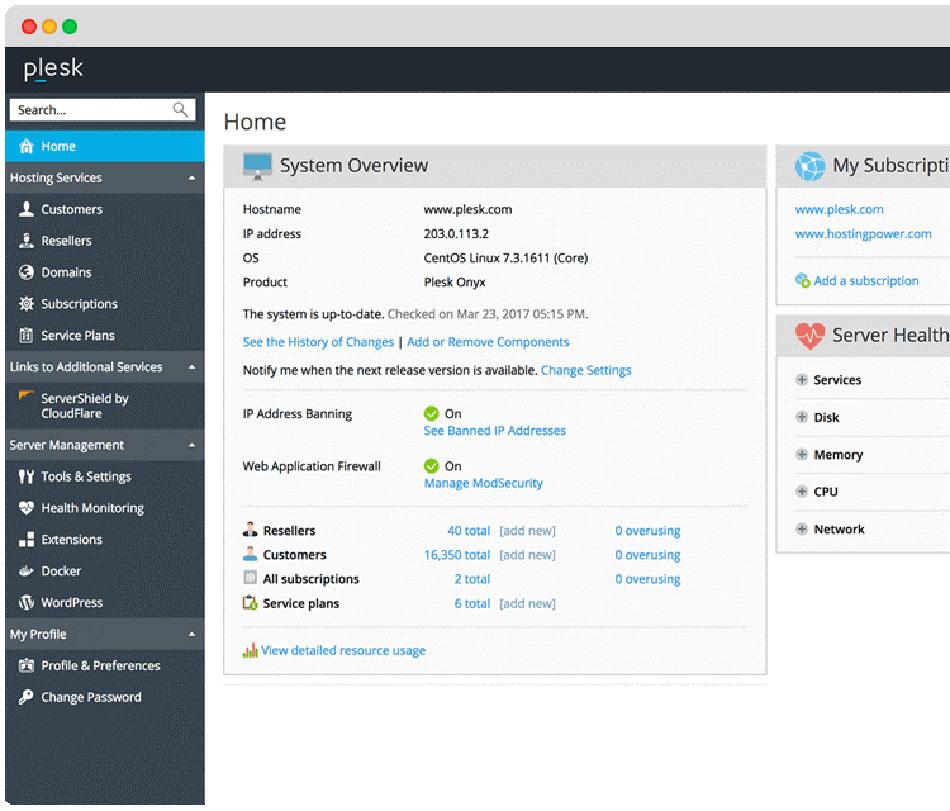 کنترل پنل های مدیریت فضای میزبانی وب سایت - Plesk