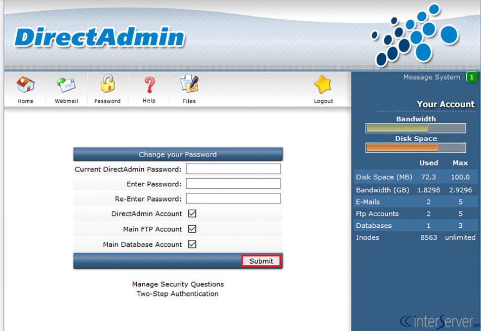 کنترل پنل های مدیریت فضای میزبانی وب سایت - DirectAdmin