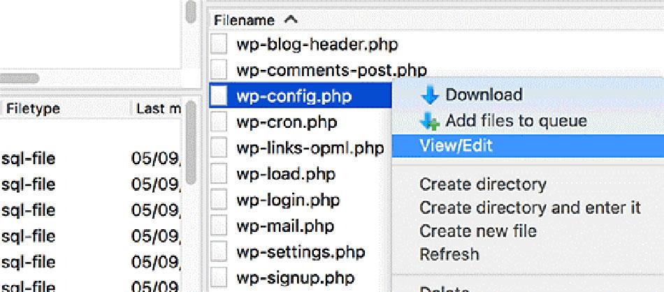 ویرایش wp-config.php