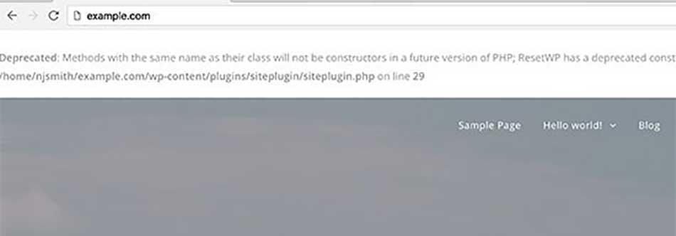خطاهای PHP در وردپرس
