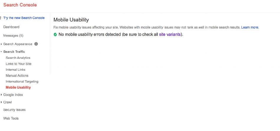 بررسی موبایل فرندلی بودن سایت در سرچ کنسول گوگل
