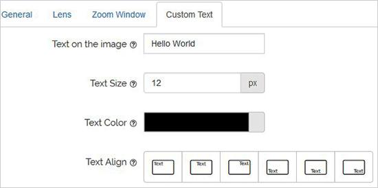 افزودن متن در پلاگین WP Image Zoom