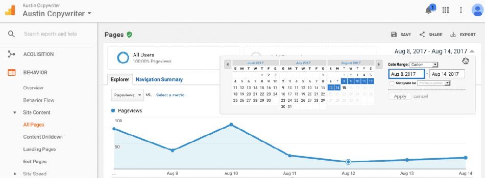 بازه زمانی گزارش در گوگل آنالیتیکس