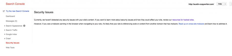 بررسی مشکلات امنیتی سایت در سرچ کنسول گوگل