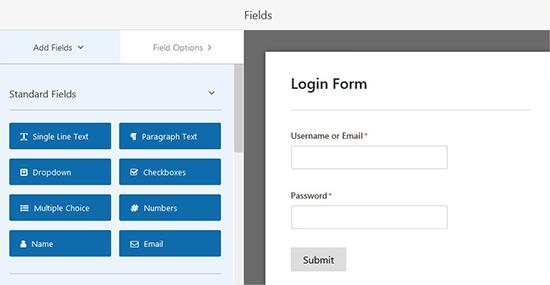 گزینه های فرم ورود سایت