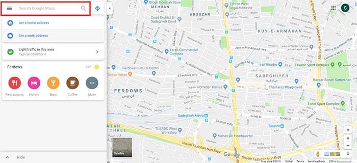 جستجوی یک مکان در گوگل مپ