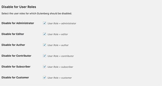 تنظیمات پلاگین Disable Gutenberg برای غیرفعال کردن افزونه گوتنبرگ