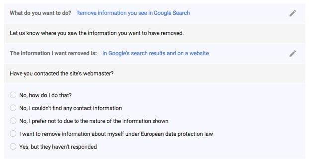 حذف محتوا از گوگل