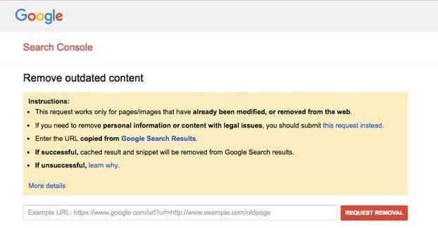 حذف محتوای منقضی شده در سرچ کنسول گوگل