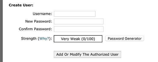 انتخاب کاربر برای قراردادن رمز بر روی سایت