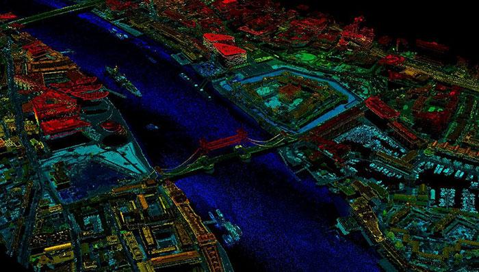 تصویر هوایی با استفاده از لیزر از پل برج های لندن