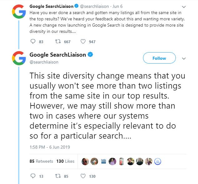 توییت Google SearchLiaison