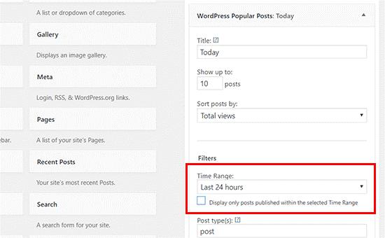 محدوده زمانی برای نمایش پست های محبوب وردپرس