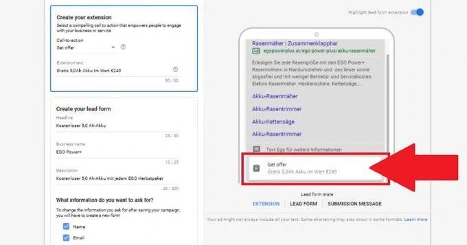 اکستنشن فرم دریافت اطلاعات مشتری در گوگل ادز