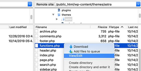 ویرایش فایل functions
