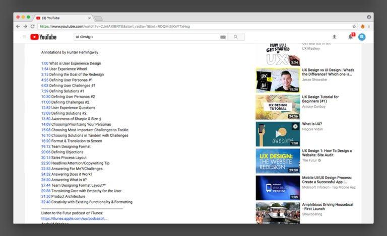 تایم لاین ویدئو در یوتیوب