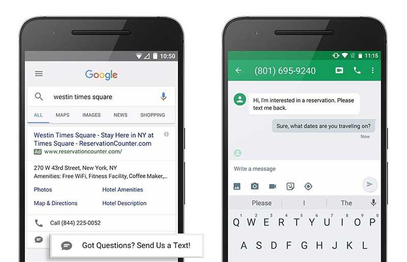 افزونه پیام در گوگل ادز