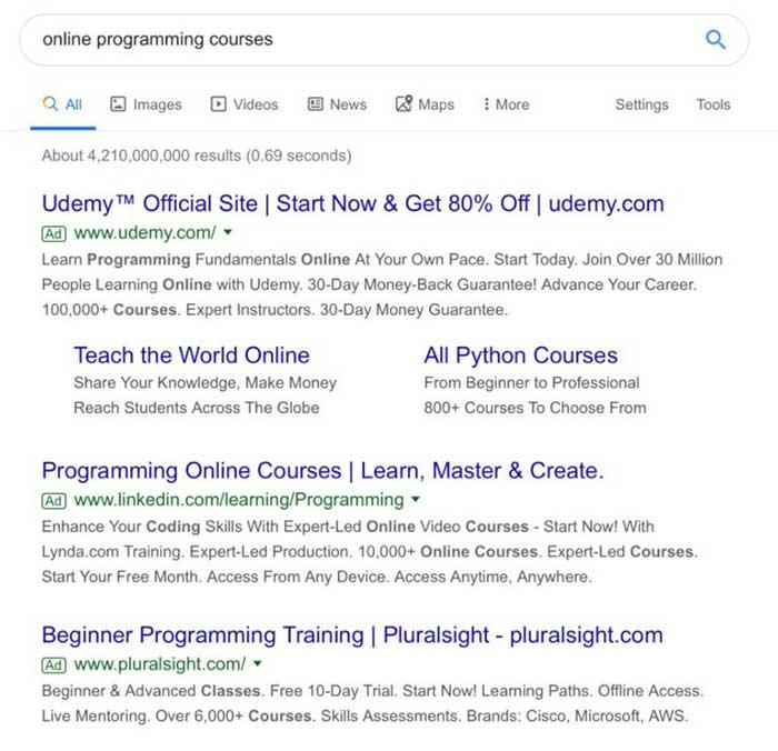 ظاهر قدیمی نتایج جستجوی گوگل