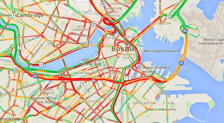ترافیک سنگین در نقشه گوگل