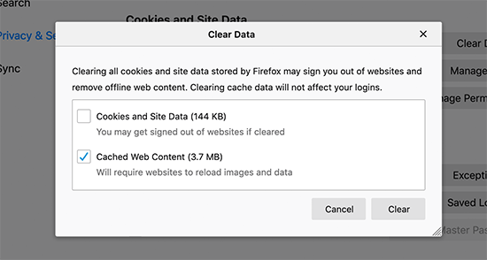 select data to clear