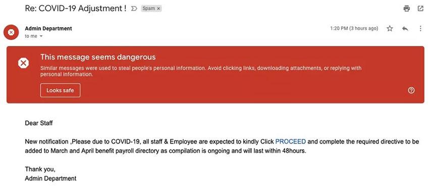 ایمیل فیشینگ مرتبط با کرونا ویروس