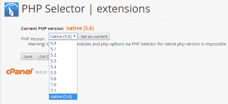 PHP selector extension in cpanel