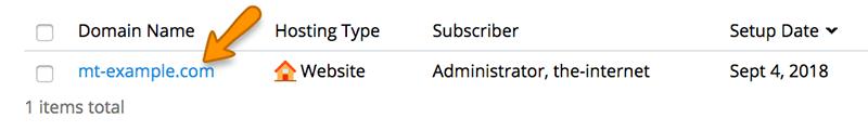 domain list in plesk