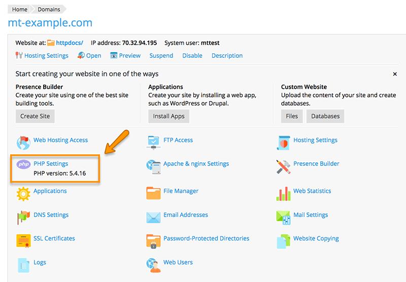 domain php settings in plesk