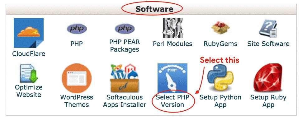 انتخاب نسخه PHP در سی پنل