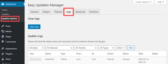 لاگ پلاگین easy updates manager
