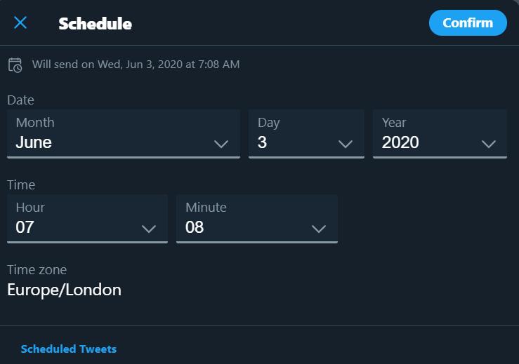 ارسال زمانبدی توییت در نسخه وب توییتر
