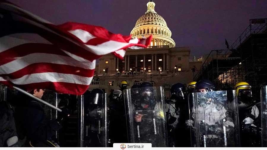 پلیس و طرفداران ترامپ در مقابل کنگره آمریکا