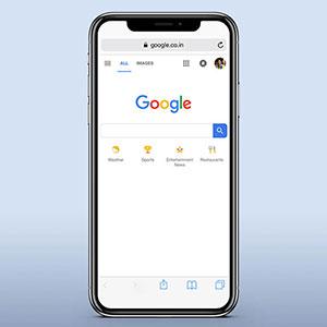 صفحه سرچ گوگل در موبایل