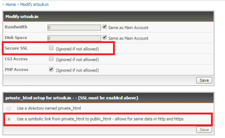enable SSL and then symbolic