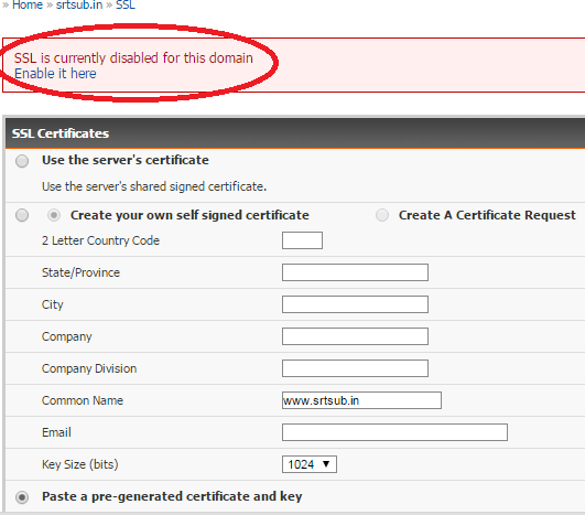 SSL in not enabled